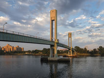 Wards Island Bridge, New York City. The small pedestrian footbridge over the East River of New York City Royalty Free Stock Images