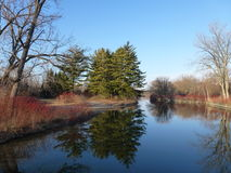 Wards Island. Park on the Toronto Islands, water, trees in Canada Royalty Free Stock Photography