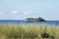 Wards Rock summer morning. Wards Rock in Little Bay in Fairhaven, Massachusetts Stock Photo