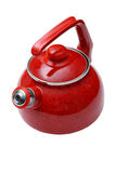 Ware. Red teapot on a white background Stock Photos