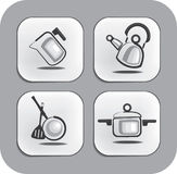 Ware and accessories for kitchen icons Royalty Free Stock Image
