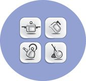 Ware and accessories for kitchen icons Stock Photography