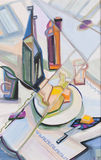 Ware through the broken glass. Stylized Still life with, bottles, tylizedplates, fruit Stock Photography