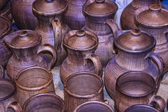 Ware from clay. Clay jugs and cups handcrafted Royalty Free Stock Photo