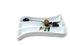 Ware from glass for olive snack Stock Image