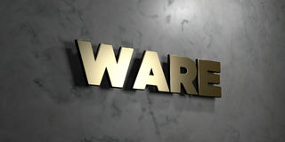 Ware - guld- tecken som monteras på den glansiga marmorväggen - 3D framförde den fria materielillustrationen för royalty vektor illustrationer