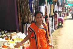 In the ware market in India. The State of Goa in India 12/13/2017 in the ware market stock photography