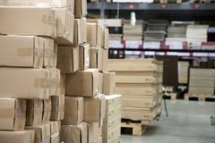 Warehouse. Store racks with product boxes royalty free stock photo