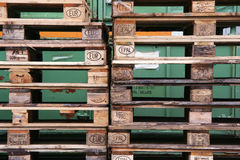 Warehouse. In the warehouse with big pallettes and boxes Royalty Free Stock Photo