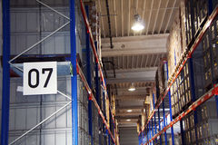 Warehouse. Impressions of a big industrial warehouse with goods Stock Images