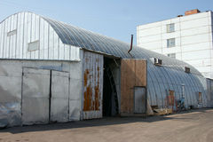 Warehouse. The building with roundish a roof is used as a cold warehouse Stock Photos