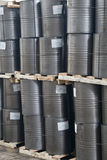 Warehouse. Pallets with barrels in a warehouse Stock Photos