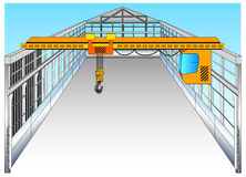 Warehouse. Isolated big warehouse with elevating crane, vector illustration Stock Photography