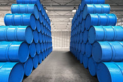 Warehouse aisle. 3d rendering warehouse aisle with heap of blue barrels Royalty Free Stock Image