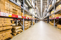 Warehouse aisle in an IKEA store Royalty Free Stock Photography