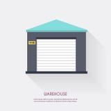 Warehouse Almacene el espacio en blanco y el transporte logísticos, st de los iconos Imagen de archivo