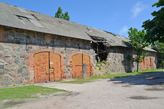 Warehouse in ancient serf construction of the 14th century. Sett. Lement Amber, Kaliningrad region Stock Images