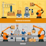 Warehouse Automation Banners Set. Warehouse automation horizontal banners set with conveyor symbols flat  vector illustration Stock Photography