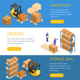 Warehouse Banners Horizontal Set. Vector Stock Photos