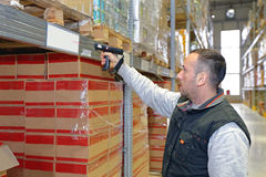 Warehouse Barcode Reader. Worker in Distribution Warehouse With Handheld Barcode Scanner stock images