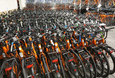Warehouse of bicycles for touring on two wheels Royalty Free Stock Photo