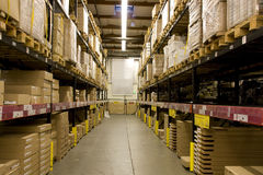 Warehouse. A big warehouse filled with big furniture packages Stock Photography