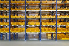 Warehouse bin trays Royalty Free Stock Photography