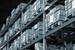 Warehouse with boxes. Industrial warehouse with plenty of boxes. Black and white photo Royalty Free Stock Photos