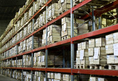 Warehouse with boxes. Industrial warehouse with plenty of boxes Royalty Free Stock Photography