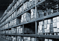 Warehouse with boxes Stock Photos