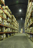 Warehouse with boxes. Industrial warehouse with plenty of boxes Royalty Free Stock Images
