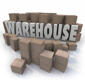 Warehouse Boxes Inventory Management Storage. Warehouse word in 3d letters surrounded by cardboard boxes to illustrate inventory management Stock Photography