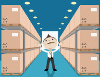 Warehouse with boxes. Vector illustration of warehouse with boxes and businessman Stock Photo