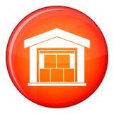 Warehouse building icon, flat style Royalty Free Stock Image