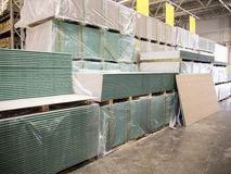 Warehouse of building materials in industiral store Stock Images