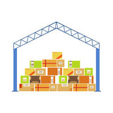Warehouse Building Metal Roof Construction With Piled Up Paper Box Packages Stored Underneath Stock Photos