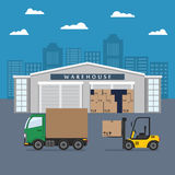 Warehouse building and shipping process. Flat vector illustration Royalty Free Stock Photos