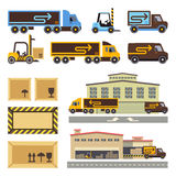 Warehouse building and transportation vehicles flat vector icons set Stock Photography