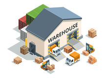 Warehouse building, trucks and load machines. Different pallets and boxes. Logistics vector illustrations. Machine and storage warehouse vector illustration