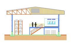 Warehouse byggnad, lagringsavsnittet, illustration för vektor för illustration för strukturdesignvektor Arkivfoto
