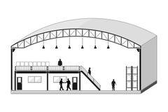 Warehouse byggnad, lagringsavsnittet som taklägger designvektorillustrationen Arkivbild