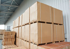 Warehouse cardboard boxes Royalty Free Stock Photos