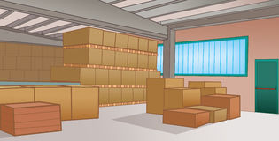 Warehouse with cardboard boxes Stock Photos