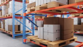 Warehouse with cardboard boxes inside on pallets racks, logistic center. Huge, large modern warehouse. Warehouse filled stock video footage