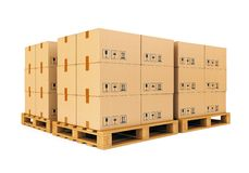 Warehouse: Cardboard Boxes On Pallets Stock Image