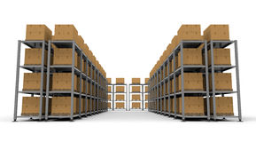Warehouse Cardboard Luggage. Luggage in a warehouse. A lot of cardboard boxes. Pile of luggage. Huge warehouse. Facing a large stock. Waiting for baggage Royalty Free Stock Photos