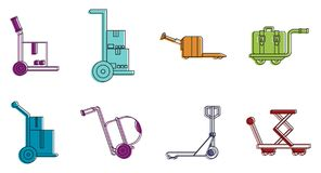 Warehouse cart icon set, color outline style stock illustration
