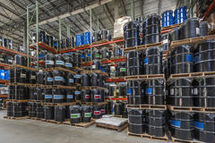 Warehouse chemical storage. Barrel storage in an industrial  warehouse Royalty Free Stock Photography