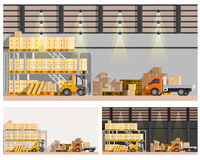 Warehouse Compositions Set. Warehouse orthogonal compositions set with van and loader flat isolated  illustration Stock Images