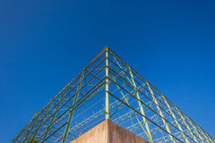 Building Corner Construction Steel Blue Stock Photo